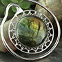 Solid white brass Puj Ju hoops with labradorite