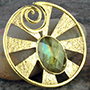 Solid brass Eye of Shiva design with faceted labradorite
