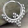 Silver trio beaded septum ring