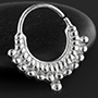 Silver double beaded septum ring