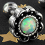 Antique opal flower barbell