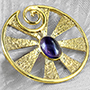 Solid brass Eye of Shiva design with amethyst