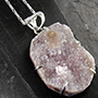 Amethyst druzy silver necklace