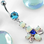 Opalite flower dangle navel