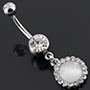 White cat eye dangle navel