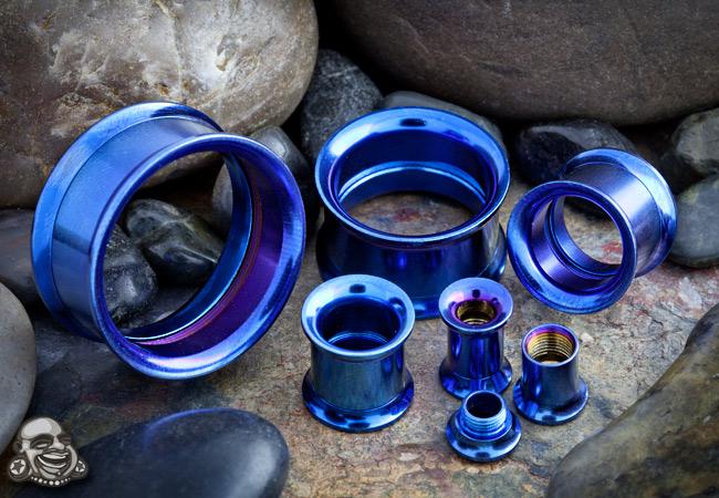 Titanium Plated Internally Threaded Eyelet (Dark Blue)