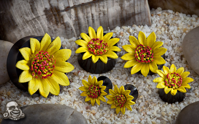 Black Horn Plugs with Yellow Leather Flowers