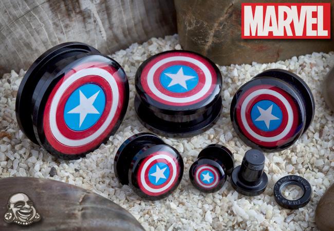 Acrylic Screw Fit Captain America Plugs