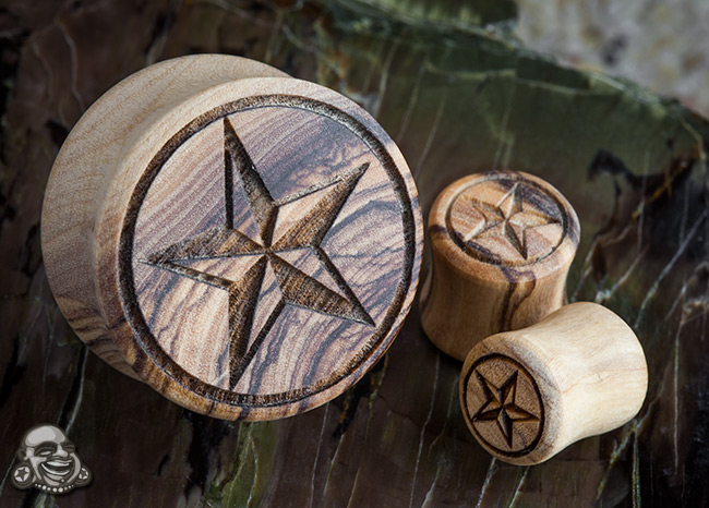 Wood Nautical Star Plugs