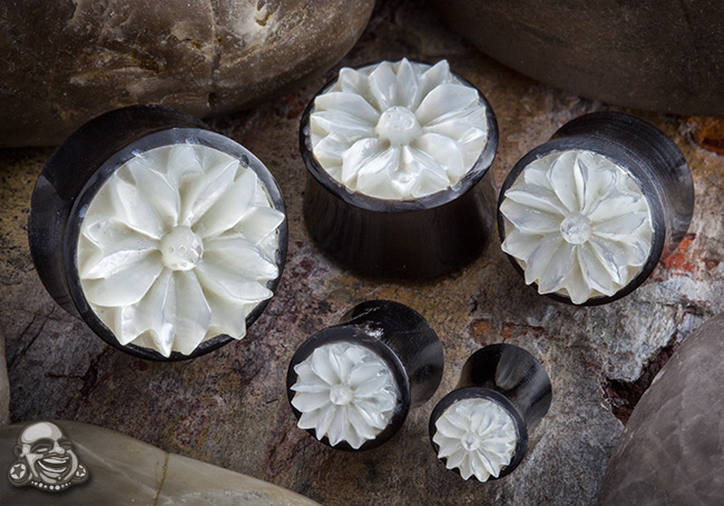 Black Horn Plugs with Flower Inlays