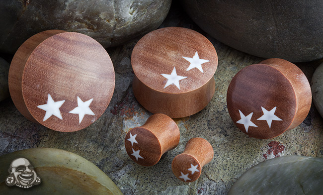 Saba Wood Plugs with Double Star Inlays