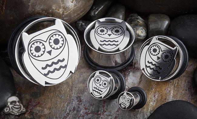 Single Flare Steel Owl Plug