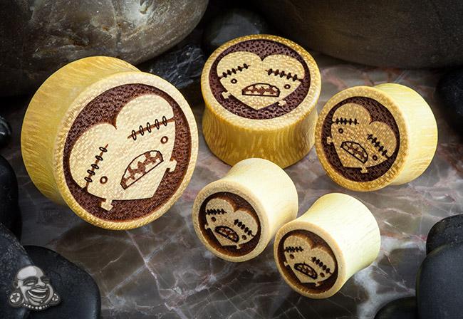 Jackfruit Wood Heart and Bones Plugs