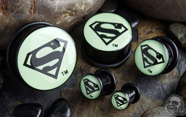 Acrylic Glow in the Dark Superman Plugs