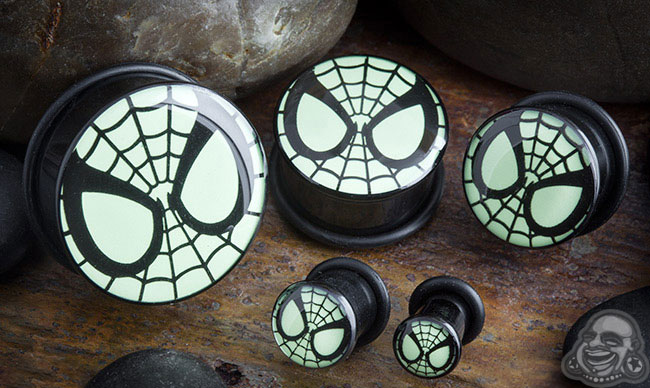 Acrylic Glow in the Dark Spider-Man Plugs