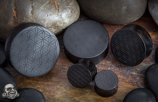 Laser Etched Ebony Wood Plugs (Flower of Life)