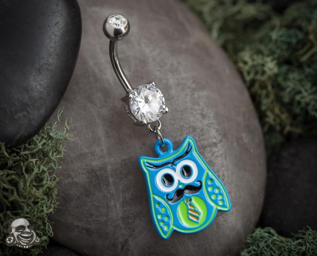 Mustachioed Owl Dangle Navel