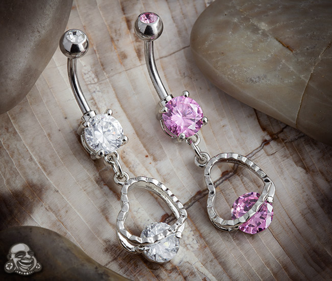 Heart with Round CZ Dangle Navel