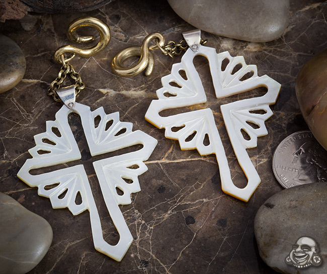 Solid Brass and Mother of Pearl Cross Dangles