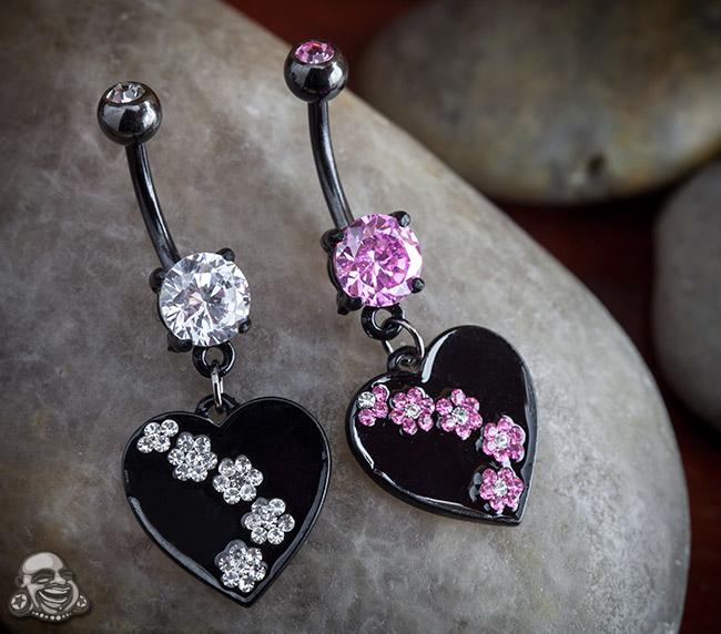 Heart Dangle Navel with Flower Gems