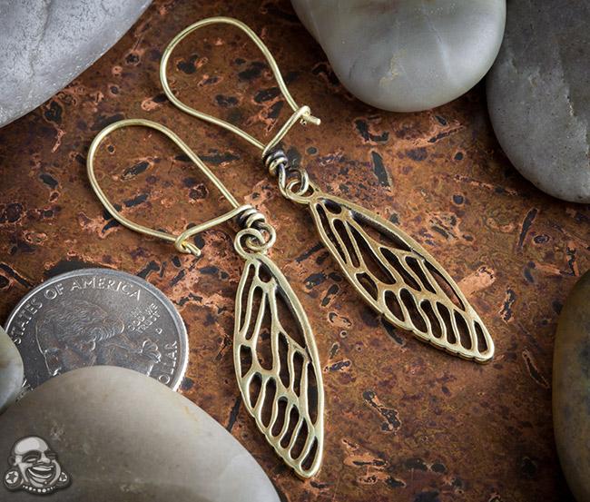 Brass Cicada Wing Earrings