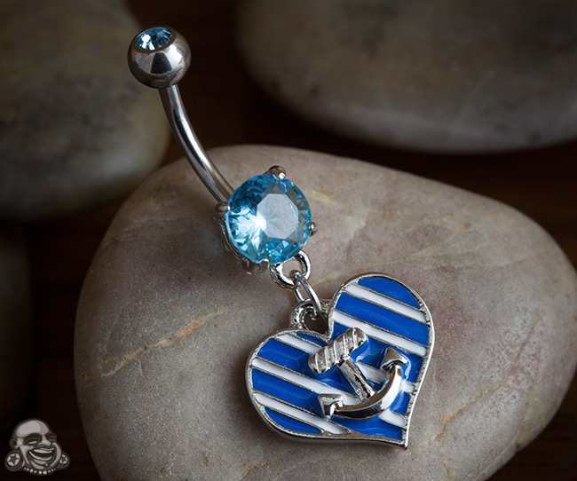 Striped Heart and Anchor Dangle Navel