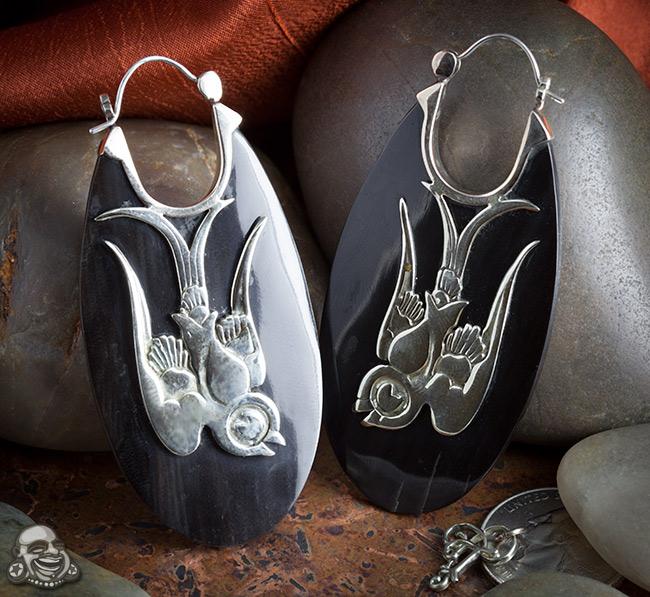 White Metal and Horn Love Bird Earrings
