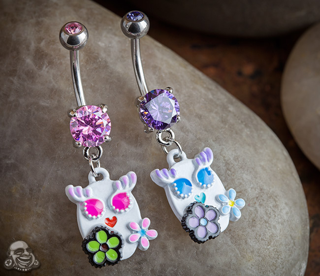 Owl with Flowers Dangle Navel