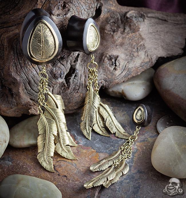 Arang Wood Feathers Hanging Teardrop Plugs