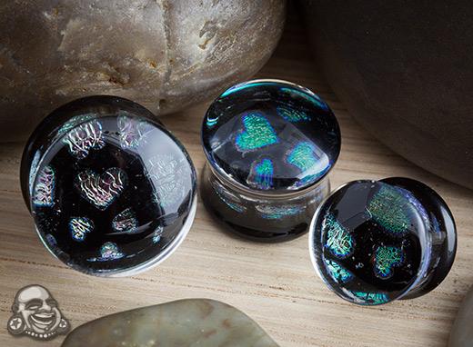 Pyrex Glass Hearts Pattern Foil Plugs