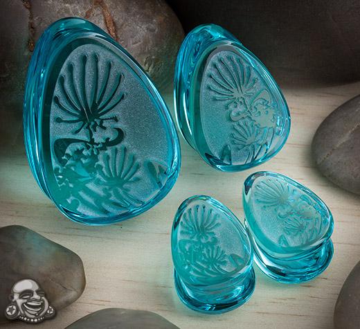 Glass Dandelion Teardrop Plugs (Turquoise)