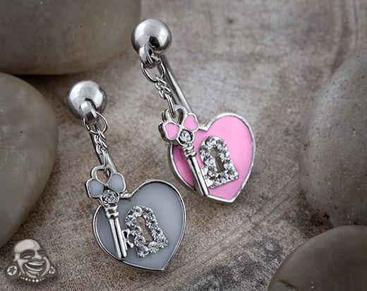 Heart Locket with Key Navel