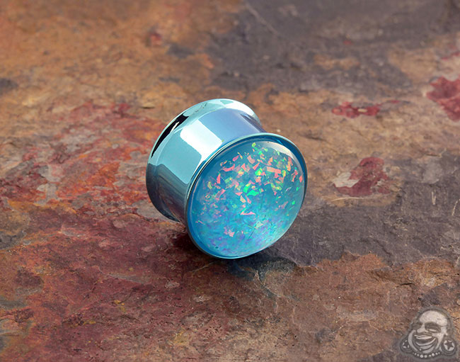 DF Light Blue steel synthetic opal plug (single)