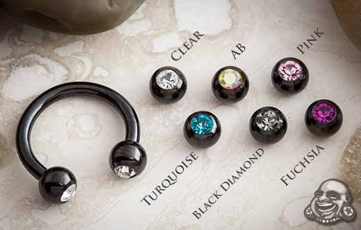 Black Steel Circular Barbell with Gem Balls
