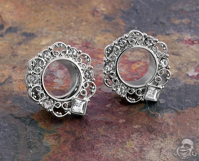 Steel gemmed swirl eyelets (pair)