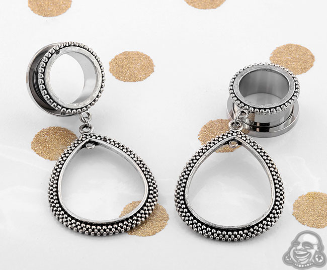 Steel teardrop dangle eyelets (pair)