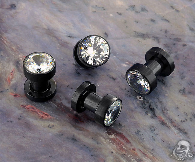 Black coat Plug with CZ gem (pair)