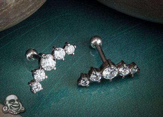 Five Gem Prong Set Cluster Barbell