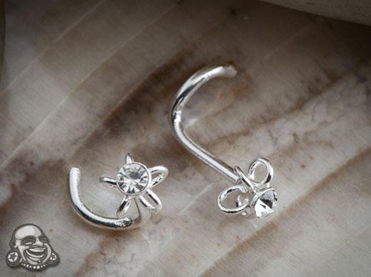 Silver Gemmed Blossom Nosescrew