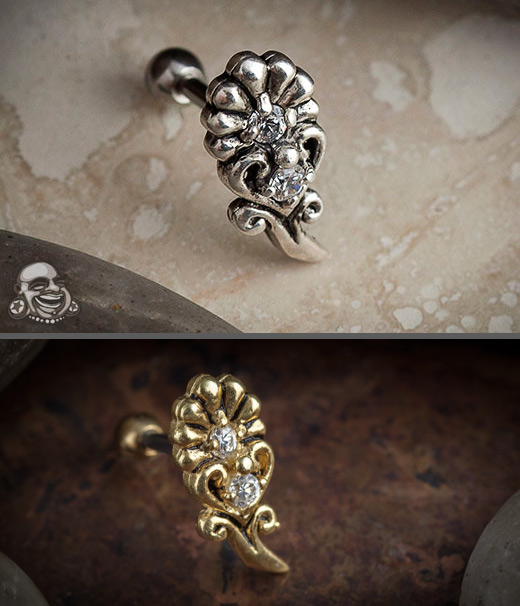 Flower and Heart Barbell