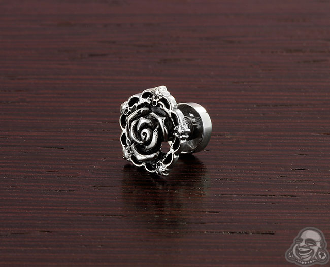 Screw Fit Steel Vintage Rose Plug (Single)