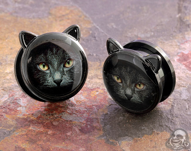 Screw Fit Black Coat Cat Plugs