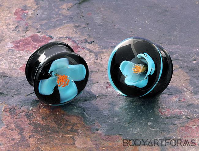 DF Glass Blue Flower Plugs (Mismatch pair)