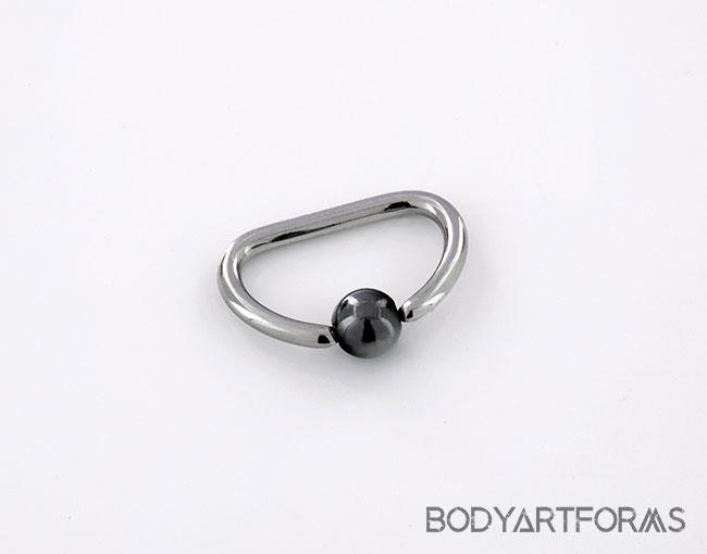 Steel D-Ring captive with 4mm Niobium Bead