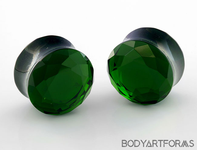 DF Tawapa Olive Faceted Plugs (Pair) (small bubble