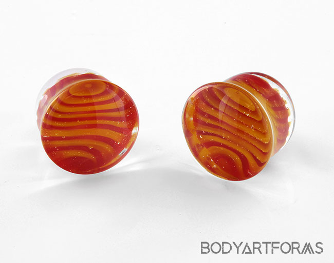 Pair of Glass Double Flared Tiger Stripes Plugs 00g Red-Black