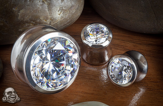 Premium Steel Eyelets with Clear CZ Gems
