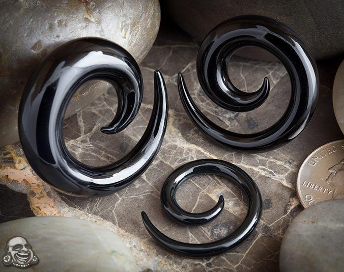 Pyrex Glass Spirals (Black)