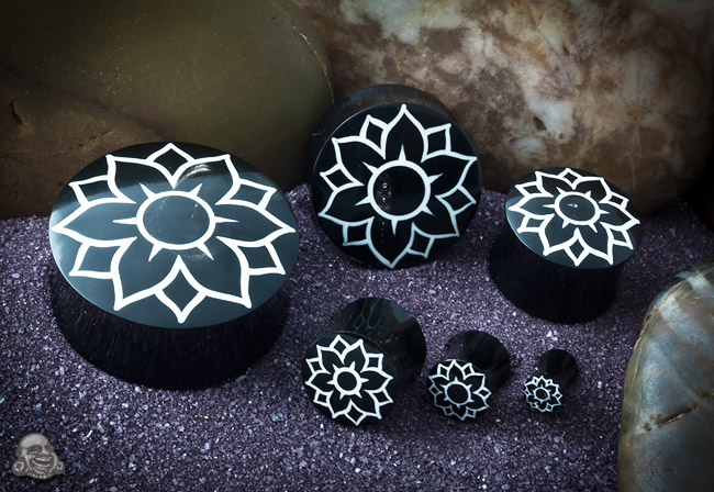 Black Horn Plugs with Lotus Flower Inlay