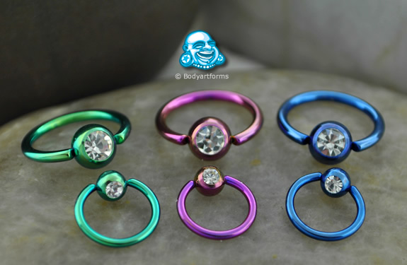 Color Plated Captive with Clear CZ Gem